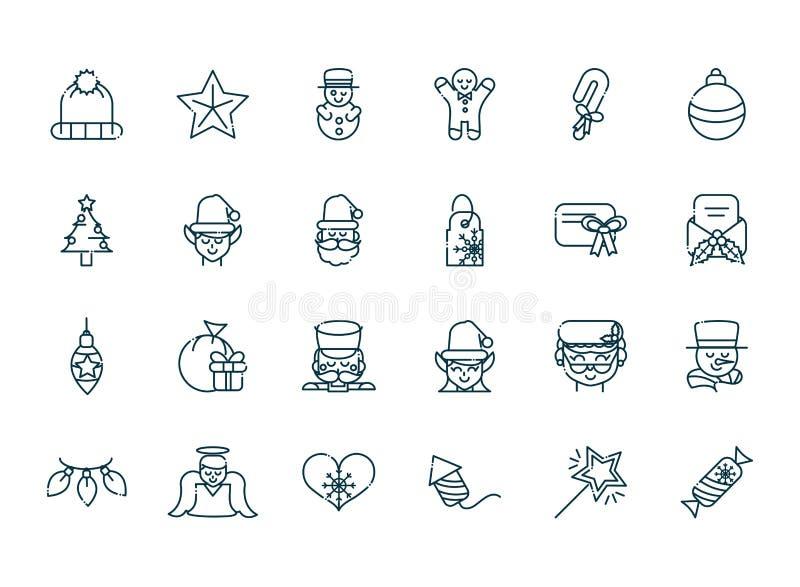 Coleção de ícones da linha de Natal feliz ilustração do vetor