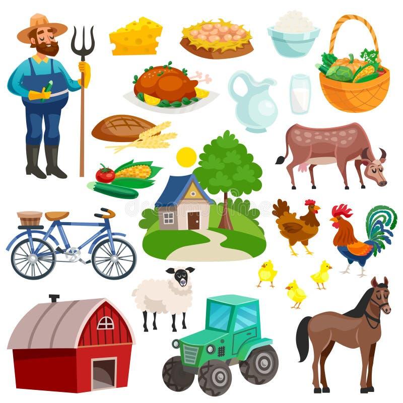 Coleção de ícones decorativos rurais dos desenhos animados ilustração royalty free