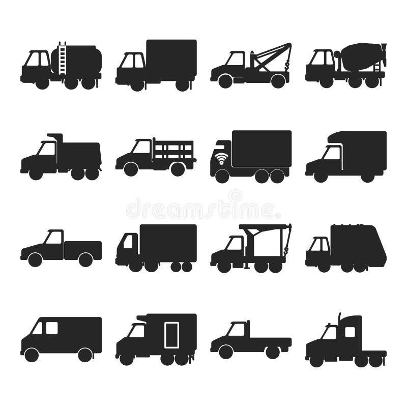 Coleção de ícones do caminhão da silhueta no estilo liso ilustração do vetor