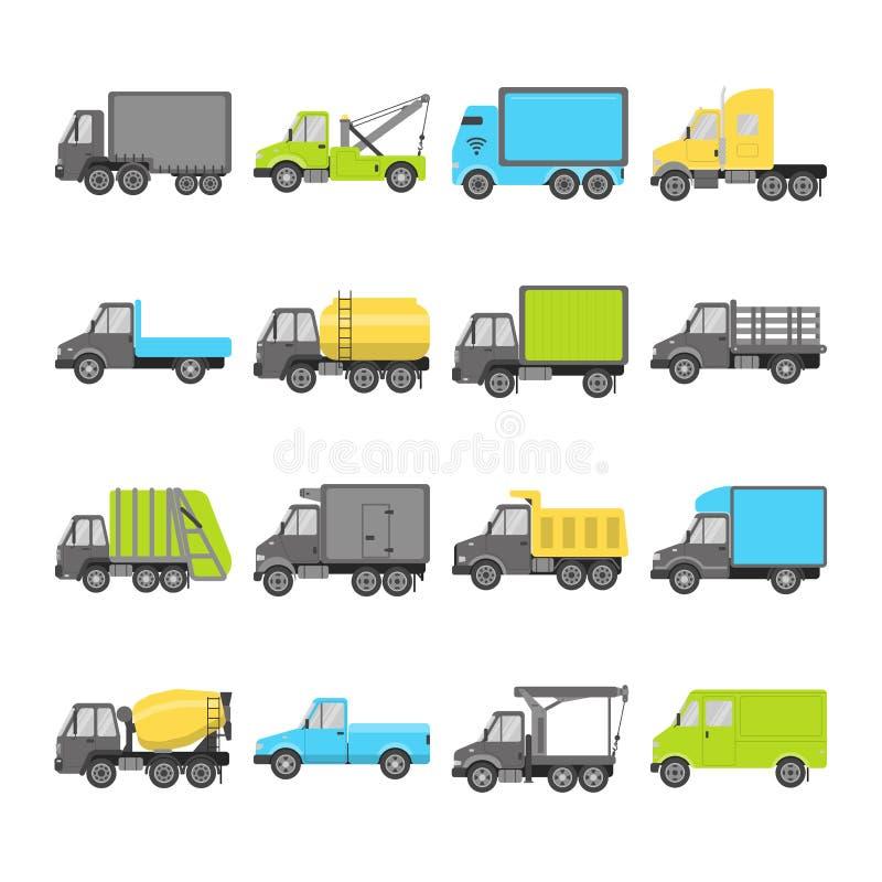 Coleção de ícones do caminhão no estilo liso ilustração do vetor