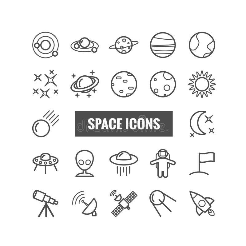Coleção de ícones do espaço do esboço Ícones lineares para a Web, apps móveis fotos de stock