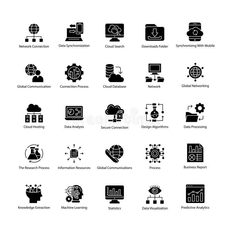 Coleção de ícones do vetor do glyph da ciência dos dados ilustração do vetor