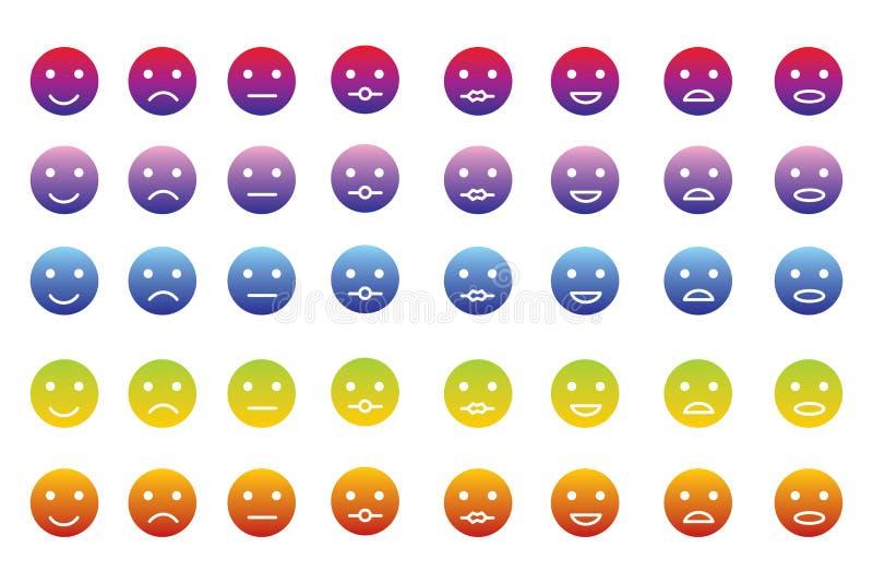 Coleção de 8 ícones dos emoticons em 5 inclinações da cor ilustração royalty free