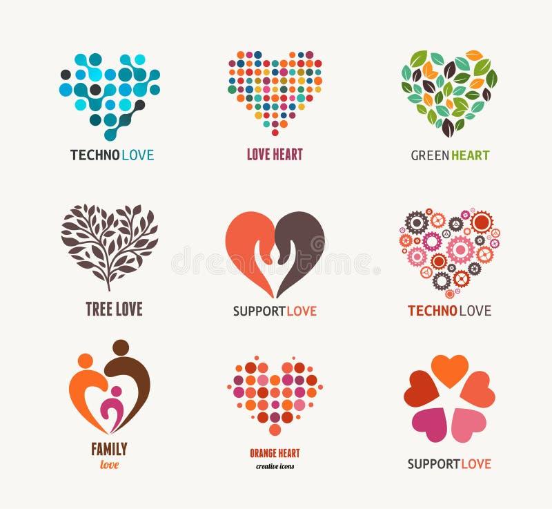Coleção de ícones e de símbolos do coração do vetor ilustração stock