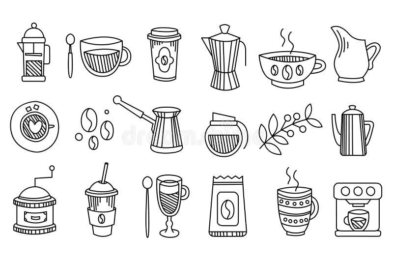 Coleção de ícones lineares do café Bebidas saborosos e quentes café, latte, cappuccino, chá Elementos gráficos para ilustração stock