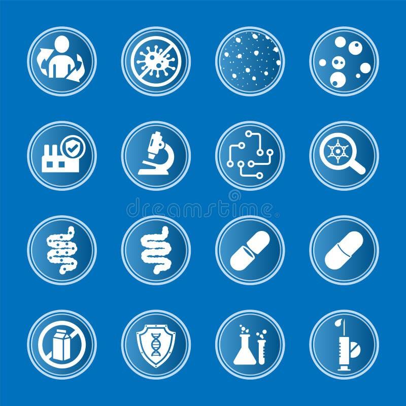 Coleção de ícones médicos a propósito do sistema imunitário intestinal fotos de stock