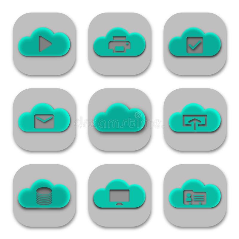 Coleção de ícones modernos e de logotipos do App da nuvem ilustração stock