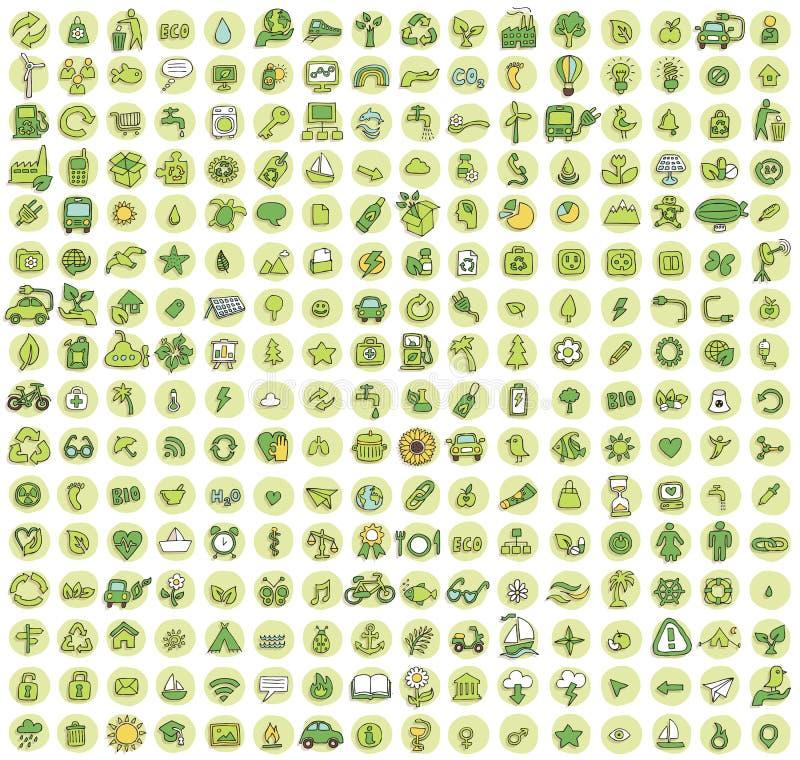Coleção de 256 ícones rabiscados ecologia ilustração stock