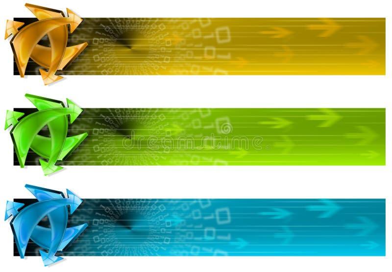 Coleção de 3 bandeiras da conexão ilustração do vetor