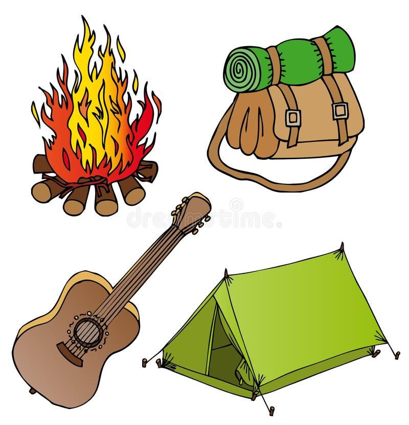 Coleção de acampamento 1 dos objetos ilustração stock