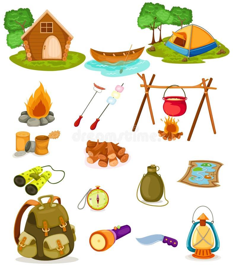 Coleção de acampamento imagens de stock