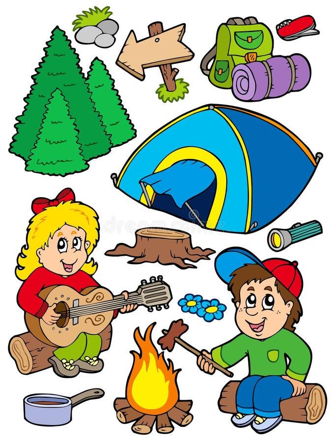 Coleção de acampamento do feriado ilustração do vetor