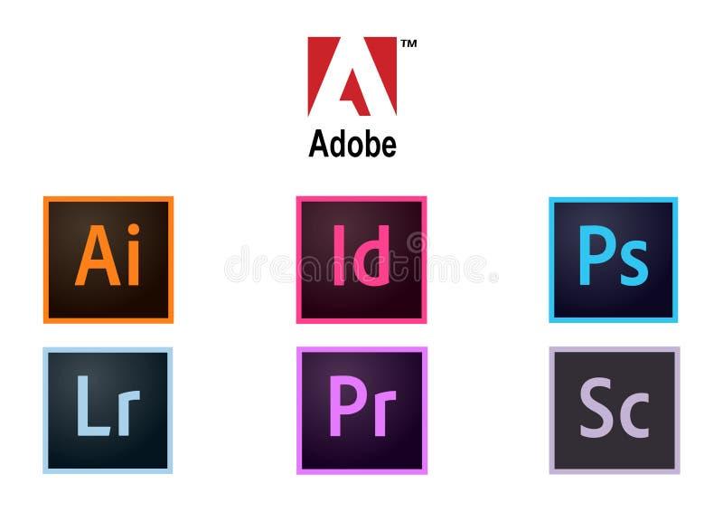 Coleção de Adobe dos logotipos ilustração do vetor