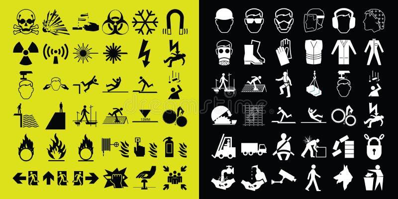 Coleção de advertência do ícone da construção e do perigo ilustração stock
