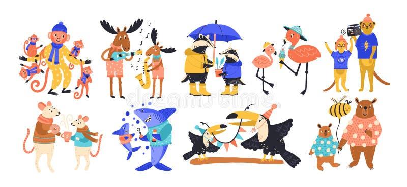 Coleção de animais selvagens felizes do pai e do bebê, de peixes e de pássaros Ajuste dos personagens de banda desenhada de diver ilustração do vetor