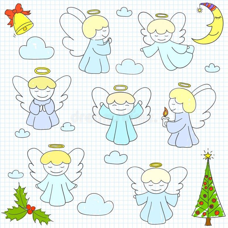 Coleção de anjos e de ornamento do Natal do vetor no st da garatuja ilustração stock