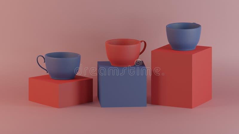 A coleção de arte 3d rende a arte moderna do copo de café para decora no contexto cúbico da caixa imagem de stock