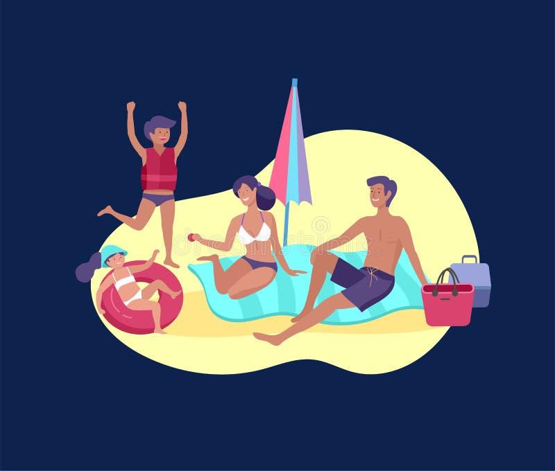 Coleção de atividades do passatempo do verão da família Mãe, pai e crianças tomando sol, natação, viajando junto ilustração royalty free