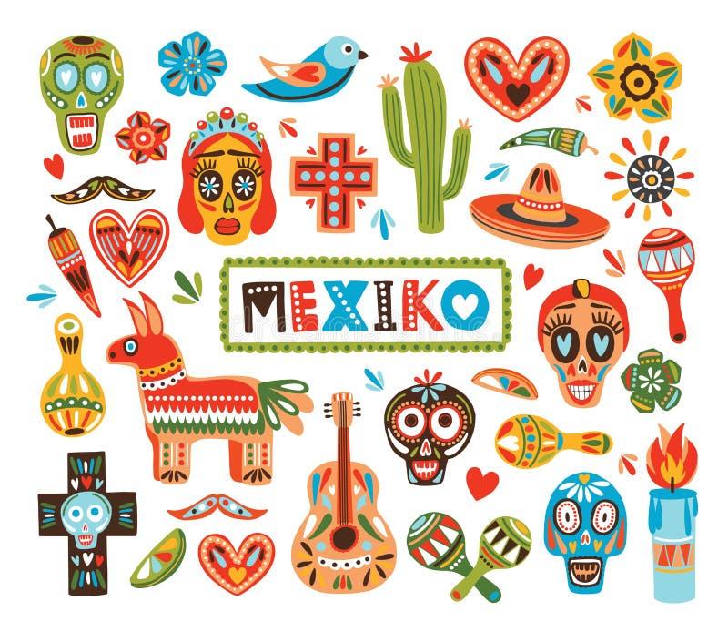 Coleção de atributos mexicanos do nacional isolada no fundo branco - pinata, crânios do açúcar, pimenta de pimentão, maracas ilustração royalty free