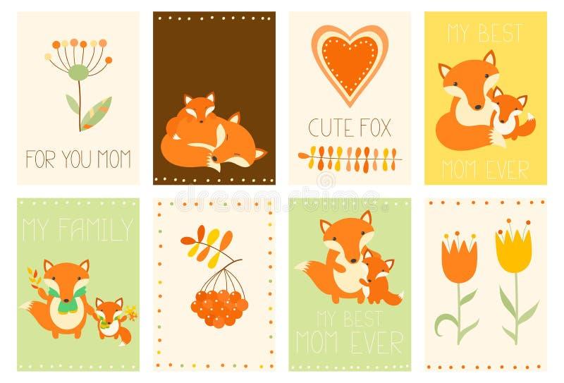 Coleção de bandeiras do dia do ` s da mãe com raposa bonito ilustração royalty free