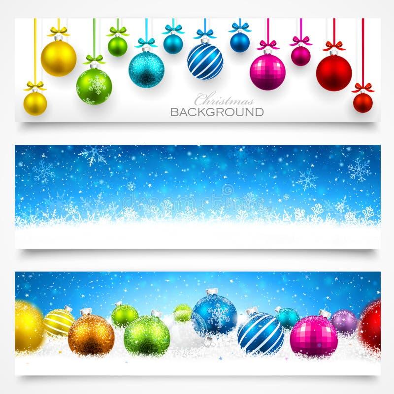 Coleção de bandeiras do Natal ilustração stock
