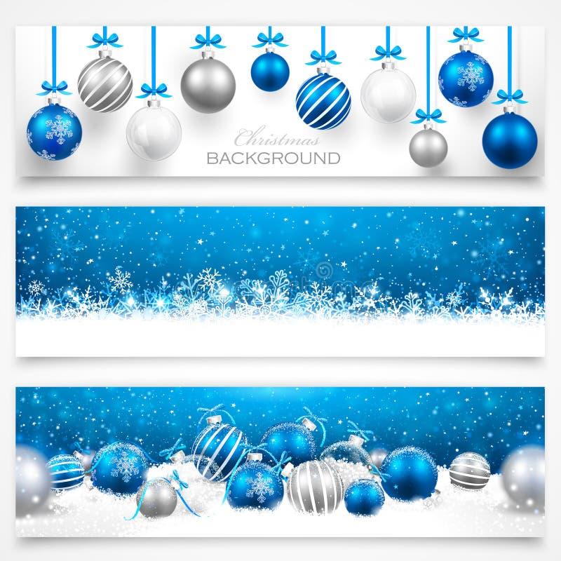 Coleção de bandeiras do Natal ilustração do vetor