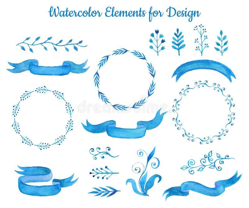 Coleção de bandeiras e das folhas azuis da fita da aquarela Grupo mão elegante de elementos tirados para o projeto Ilustração ilustração royalty free