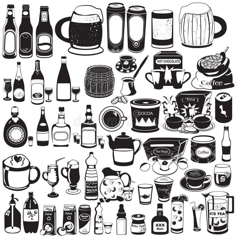 Coleção de bebidas diferentes ilustração stock