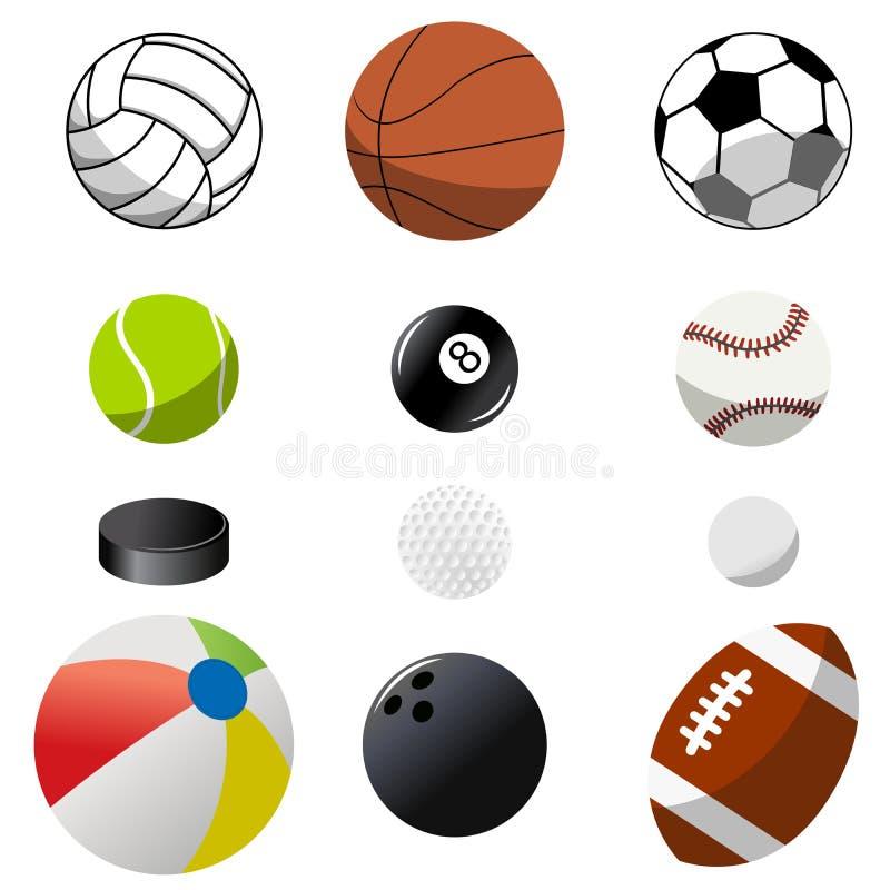 Coleção de bolas do esporte ilustração stock