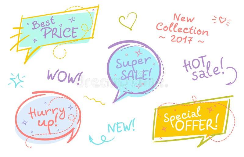 Coleção de bolhas na moda do discurso da venda com texto escrito à mão a ilustração stock