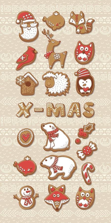 Coleção de bolinhos do Natal ilustração royalty free