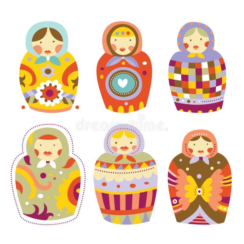 Coleção de bonecas de Matryoshka ilustração royalty free