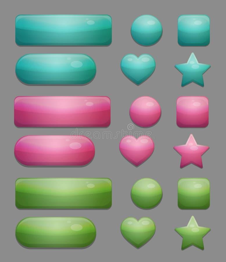 Coleção de botões multicoloridos brilhantes do app do vidro ilustração royalty free