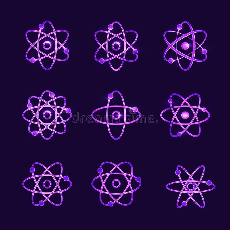 Coleção de brilhar estruturas atômicas ilustração royalty free