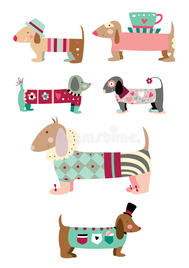 Coleção de cães bonitos ilustração stock