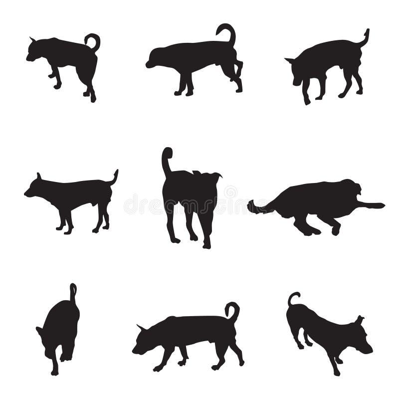 Coleção de cães da silhueta, ilustração do vetor do animal de estimação ilustração do vetor