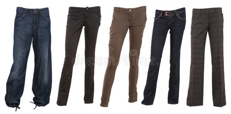 Coleção de calças fêmeas imagem de stock