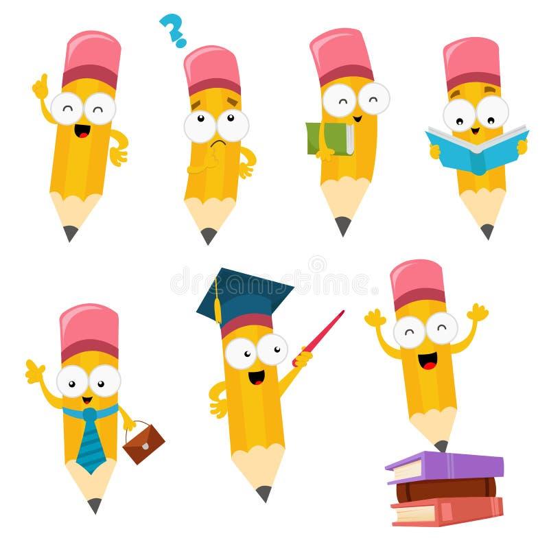 Coleção de caráteres do lápis dos desenhos animados ilustração royalty free