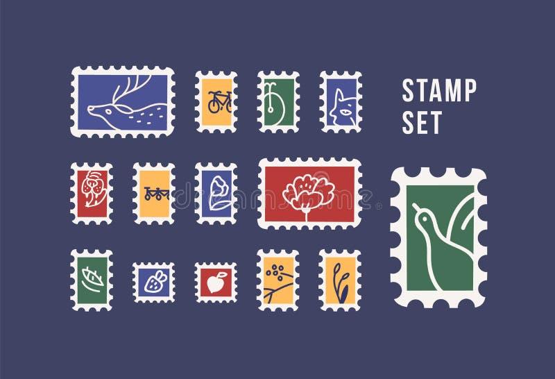 Coleção de carimbos de correio com animais, aves, flores e frutos isolados em fundo escuro Conjunto de filamentos Pacote ilustração do vetor