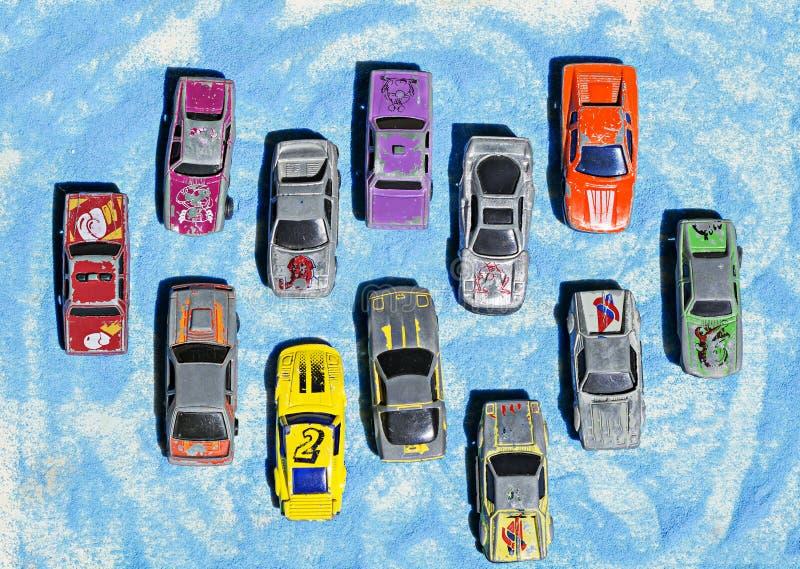 Coleção de carros do brinquedo do vintage imagens de stock