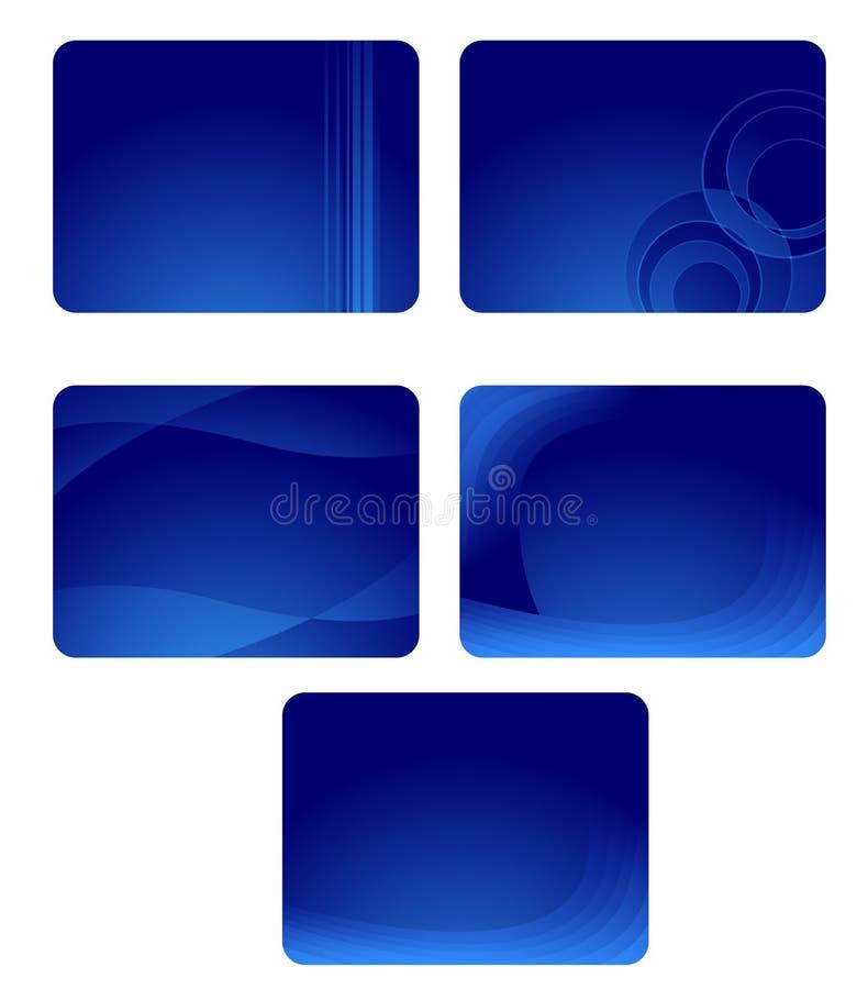 Coleção de cartões azuis com ondas ilustração royalty free