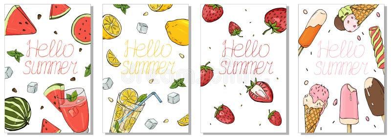 Coleção de cartões coloridos no tema do verão Bebidas, fruto e gelado de refrescamento ilustração royalty free