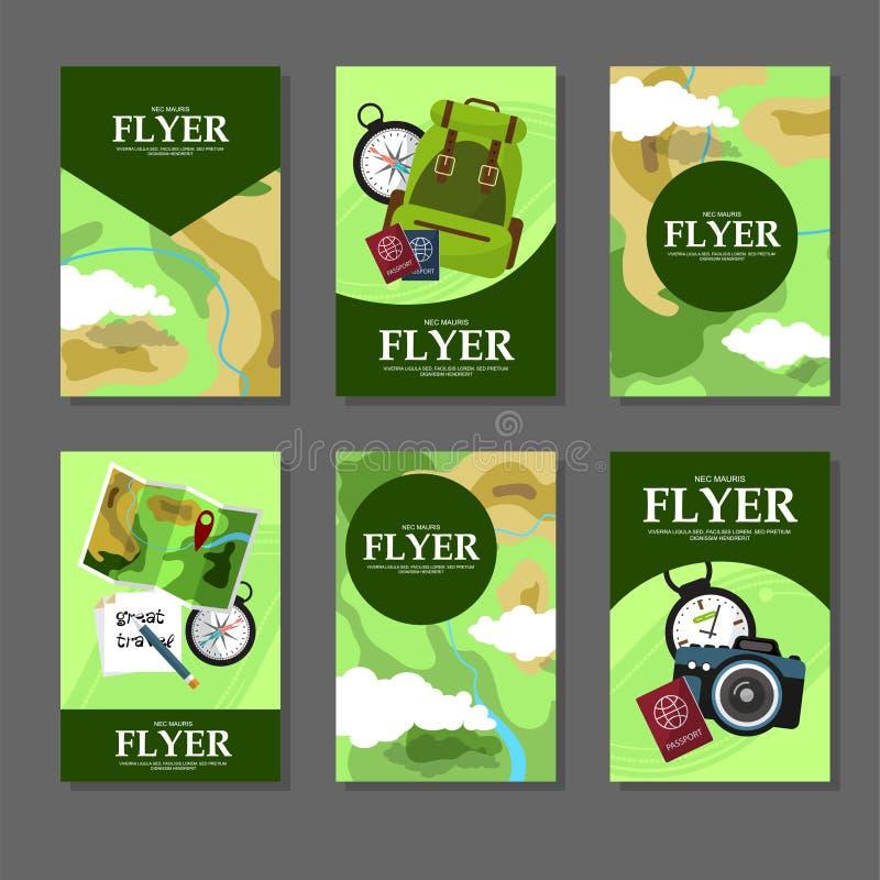 Coleção de cartões retangulares com mapas e facilidades de turista Estilo liso ilustração stock