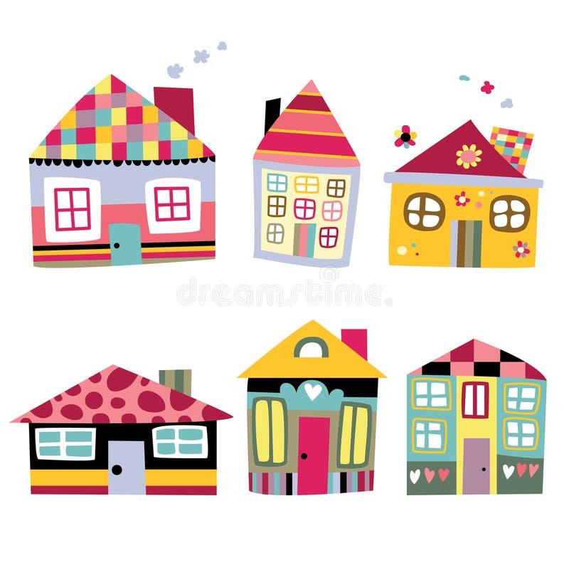 Coleção de casas bonitos ilustração do vetor