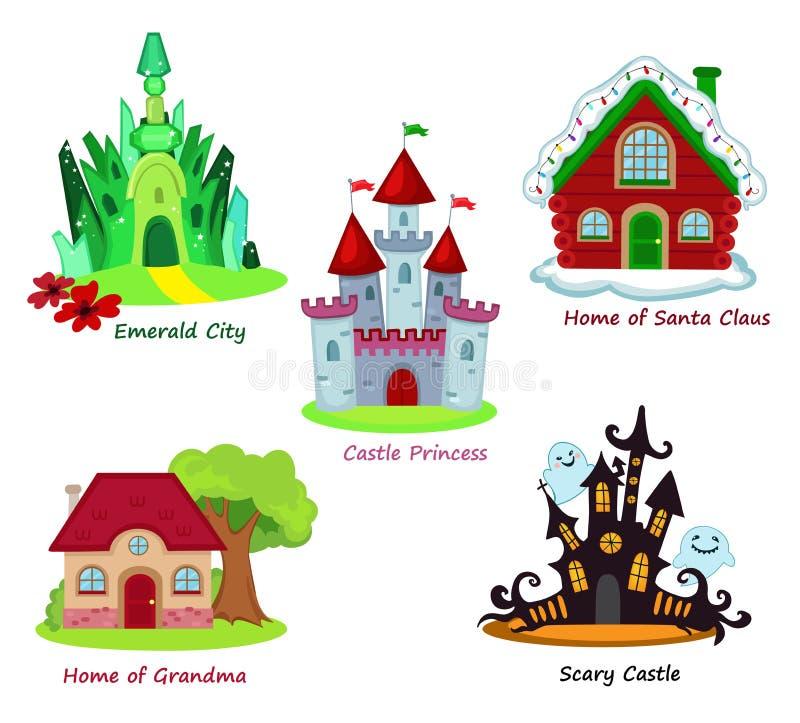 Coleção de casas feericamente no fundo branco ilustração stock