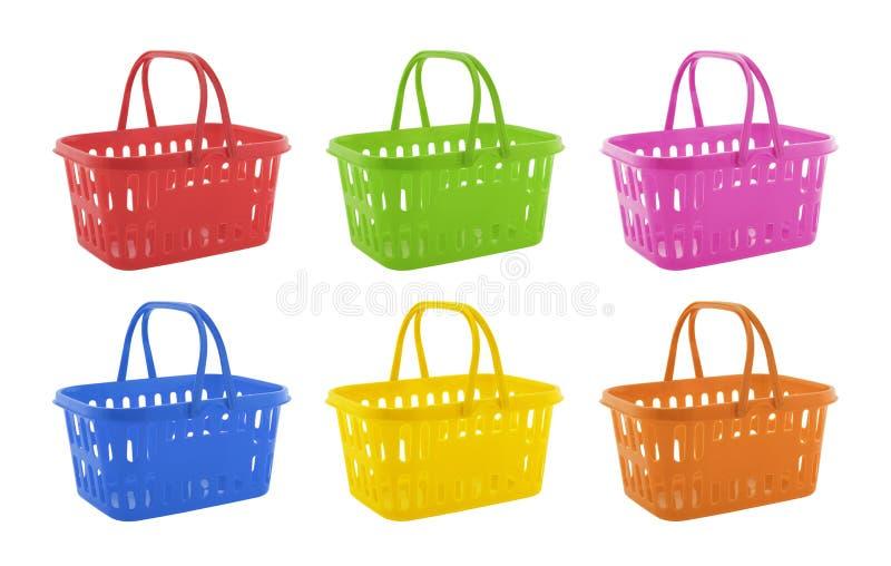 Coleção de cestos de compras coloridos foto de stock