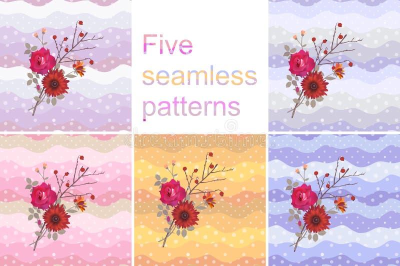 Coleção de cinco testes padrões ou cartões sem emenda com o ramalhete brilhante no fundo multicolorido do às bolinhas ilustração do vetor
