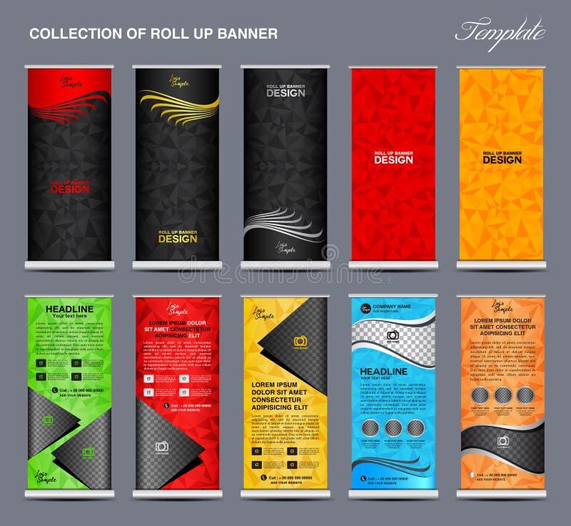 A coleção de colorido rola acima o molde do suporte do projeto da bandeira ilustração stock