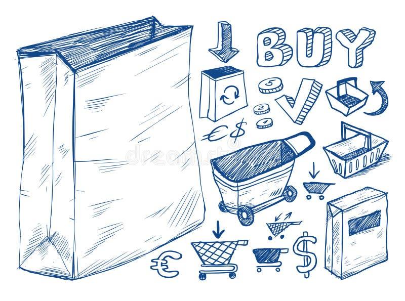 Coleção de compra dos doodles ilustração royalty free