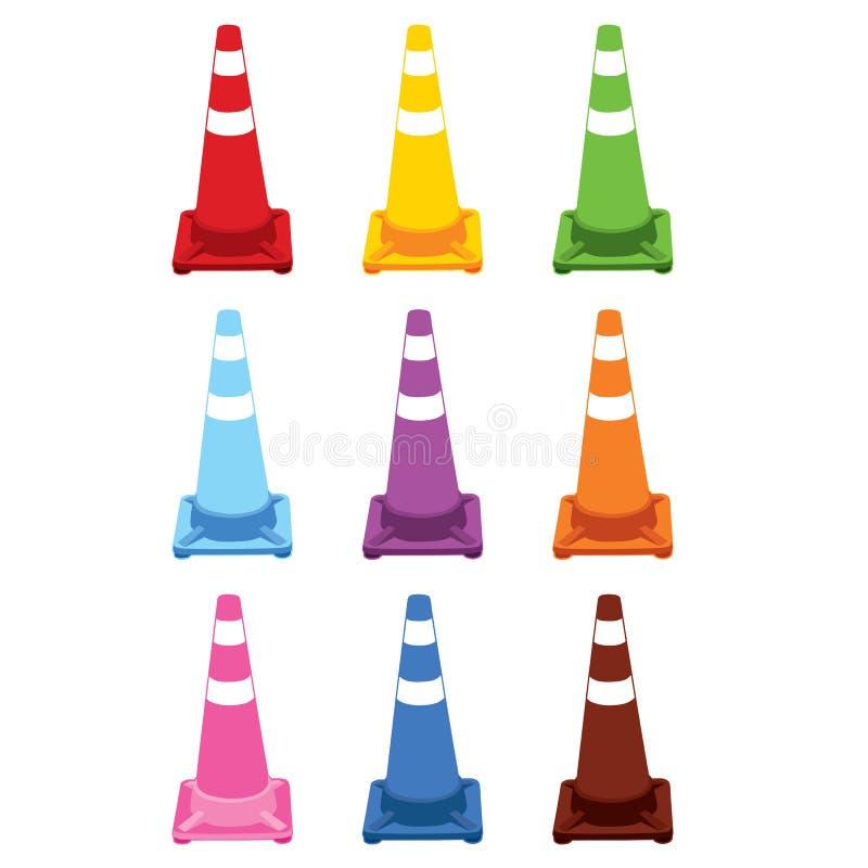 Coleção de cones diferentes do tráfego da cor. ilustração royalty free